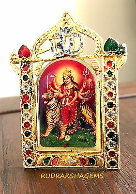 Durga Maa Shera Wali Vaishno Devi Hindu Golden Mini Photo Frame Car Dashboard Om