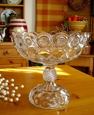 Jeweled Moon & Stars - Antique EAPG Footed Open Compote c.1890's