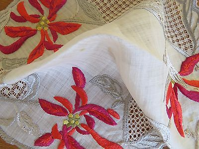 """Antique Doily Society Silk Hand Embroidered Linen Lace Drawnwork Table Mat 10"""""""