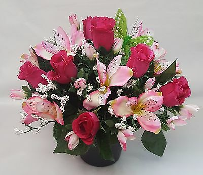 Artificial Flowers All Round Grave Arrangement Alstro Rosebud Pinks