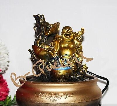 Laughing Buddha Vintage Colour Changing LED Indoor Water Fountain Home Decor