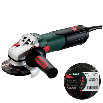 "Metabo W9-115-QUICK 4-1/2"" Angle Grinder w/ Quick Wheel Change + 10pk Wheels New"