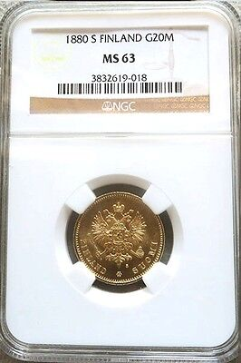 "1880 S Gold Finland / Imperial Russia ""key Date"" 20 Markkaa Ngc Mint State 63"