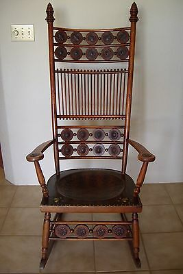 Ornate Rocking Chair with original tooled leather seat/leather inserts Antique