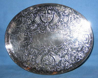 """Antique Ellis Barker Silverplate Silver Plate Reticulated Oval 8""""x10"""" Tray"""