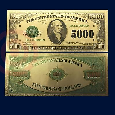 24K Gold Plated Foil $5000 Gold Novelty Dollar Bill With Currency Sleeve