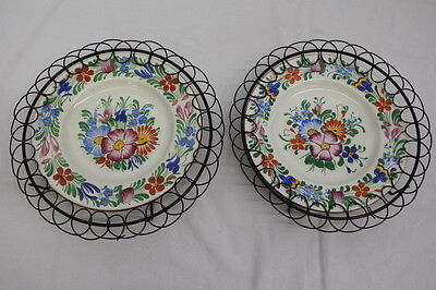 """Pair of 2 Vintage Hand Painted DITMAR URBACH Floral 6.5"""" Plates, Czechoslovakia"""