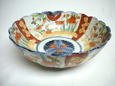 Vintage Japanese IMARI 8 1/2 inch Scalloped & Ribbed BOWL Asian Porcelain Export