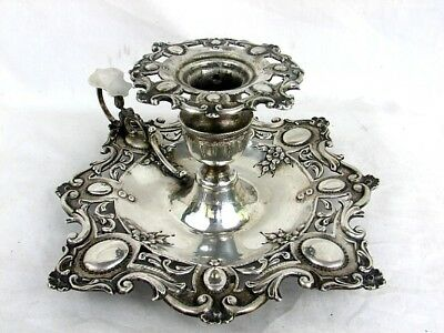 ANTIQUE SILVER CHAMBERSTICK CANDLEHOLDER *ROCOCO* PORTUGAL c.1880's