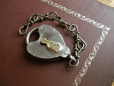 Antique Sargent & Company (S & Co) LOCK with Chain - Brass Key Cover