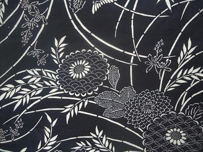 Vintage Kimono Silk Fabric Black and White Branches and Flowers