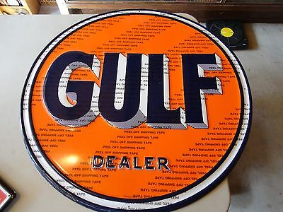 Gulf Oil Dealer Round Embossed Sign Licensed By Gulf Made In Usa Modern