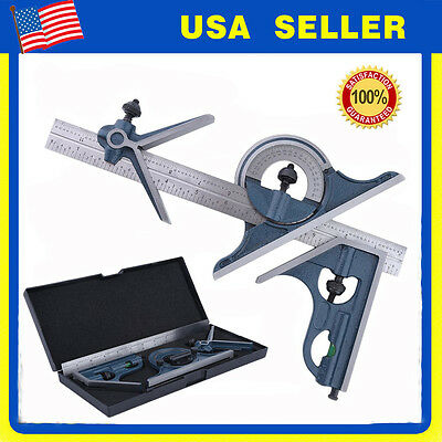 "Blem Cosmetic Second PEC 12"" 4R 4 pc combination machinist square protractor NEW"