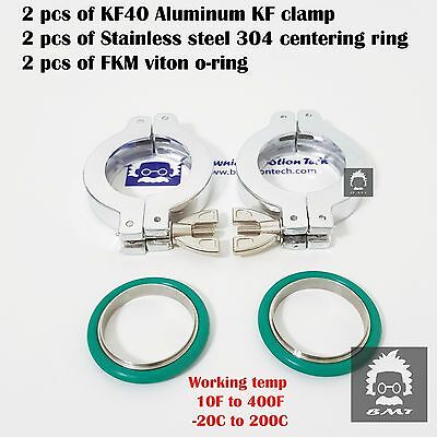 2 sets KF40 Aluminum vacuum clamp ring + SS304 center ring with FKM viton O-ring