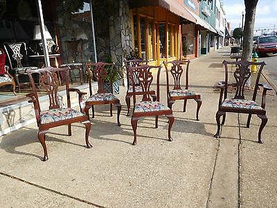 Grand Set of Six Mahogany Shop made Dining Room Chairs 20thc.