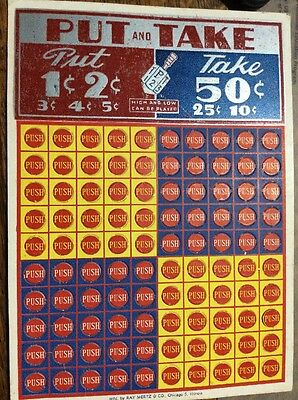 Vintage Unused Punch Board Gambling Game, Put and Take, Ray Mertz & CO. Chicago