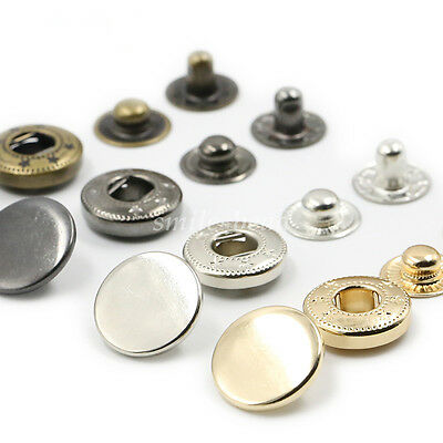 Metal Snap Fasteners Popper Press Stud Rounded Buttons DIY for Clothes 4 Colors