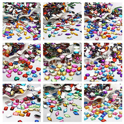 Many Shape Mixed Color Rhinestones Sew On Flatback Acrylic Crystal Glass 2 Holes