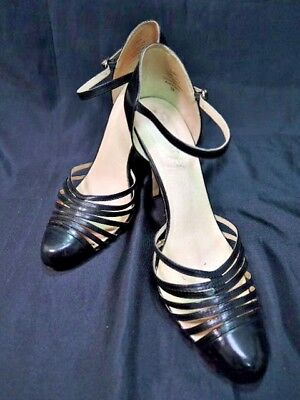 Zoe Wittner Black Calf Leather Shoes Heels Lady Strappy Ankle Sz 9 $149 As New