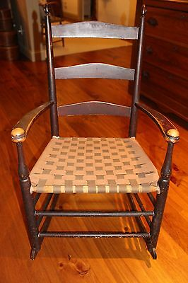 Nice Antique Slat Back SHAKER Rocker with Arms Mt Lebanon New York