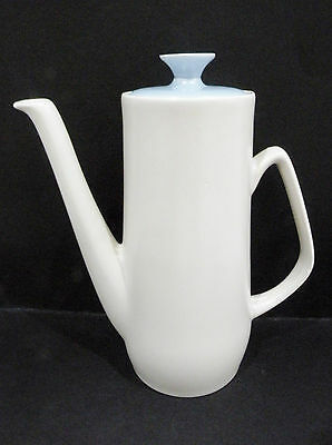 """Poole Pottery - Coffee Pot with sky blue lid vgc (8 1/2"""" x 3 5/8"""")"""