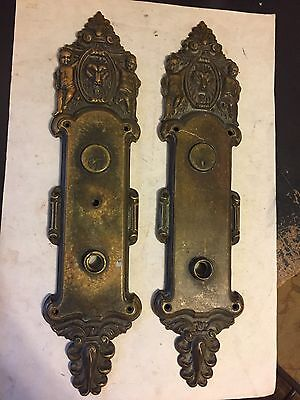 "2 Antique 16 1/2""  Cast Brass Bronze Gothic Victorian Entrance Door Knob Plates"
