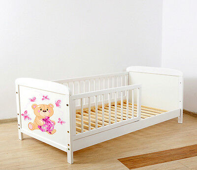 NEW WHITE JUNIOR TODDLER COT-BED 140x70 no 30 - INCLUDING FOAM MATTRESS