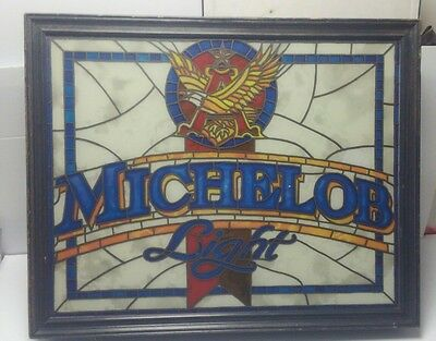 Vintage Michelob light Anheuser Beer Busch Lighted Stained Glass bar Sign