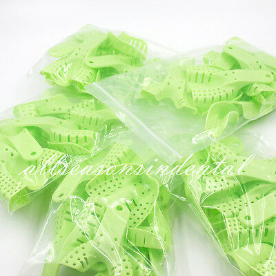 100 Pcs Dental Plastic Impression Tray Perforated Autoclavable Holder Disposable