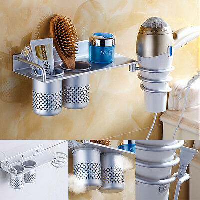 Hair Dryer Rack Storage Organizer Comb Holder Wall Mounted Stand Bathroom Set