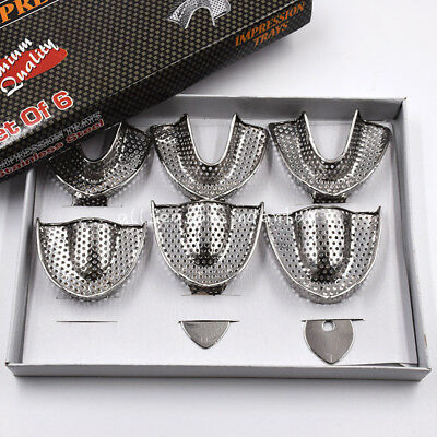 Upper/Lower STAINLESS STEEL Dental Autoclavable Metal Impression Trays S/M/L