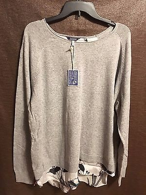 Joules V Ellenor Woven Knit Mix Sweater - SOFGRYM - Us Size 16