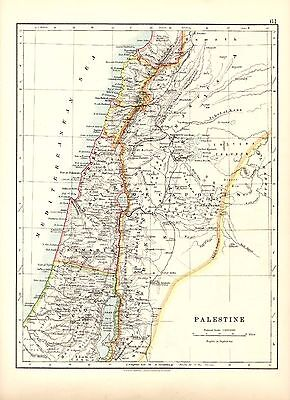 Antique MAP ~ PALESTINE by W. & A. K. Johnston 1915 ~ 100+ Years Old