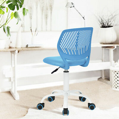 Sky Blue Plastic Cover Chair Bedroom Dorm Computer Office Chair Swivel Mid-Back