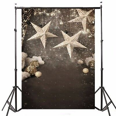 5x7FT Christmas Stars Snow Vinyl Photography Background Backdrop Studio Props
