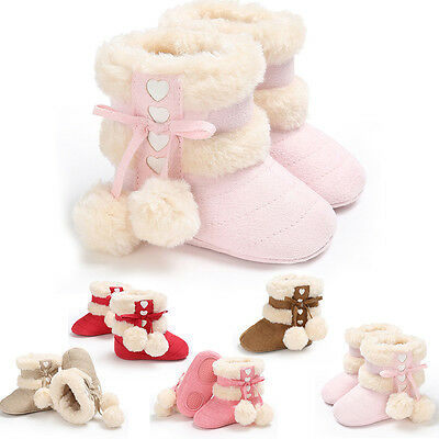 WARM Girl Crib Shoes Newborn Baby SOFT Bowknot FOR 0~18M Sole Prewalker Sneakers