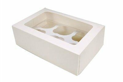 10 x White 6-Hole Cupcake/Muffin Boxes