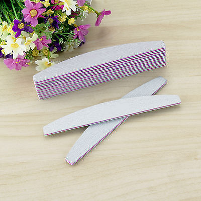 10Pc Double Nail Files Sided 100 150 180 240 Grit Grey Banana Curved Emery Board