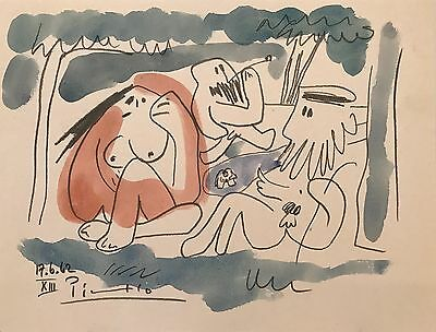 PICASSO - ORIGINAL PAINTING/DRAWING - WATERCOLOR signed Picasso, Good paperwork!