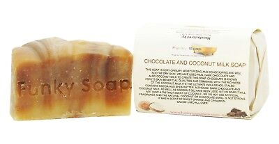 1 piece Chocolate & Coconut Milk Soap Bar 100% Natural Handmade 120g