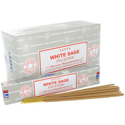 Satya White Sage Incense Sticks Pack Of 12 (Each Box Contains 15G)