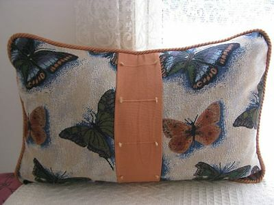 Cushion Cover Butterfly upholstery fabric with rust decorator fabric