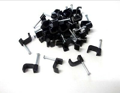 Black Cable clips. Flat. Twin & Earth. Cable clips with fixing nail. Top Quality