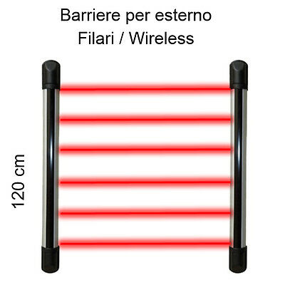 Barriere per esterno filari / wireless 120Cm a 6 raggi infrarossi anti animale