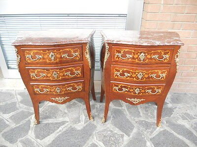 Elegant And Rare Couple Of Bedside Cabinets In Louis Xv Style Late '800