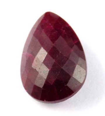 1 Pcs Natural Ruby Corundum Pear 20x30mm 64.15Cts Faceted Checker Cut Gemstone