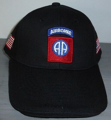 Casquette noire AIRBORNE 82 nd  ALL AMERICAN paratrooper JEEP CAP US VO