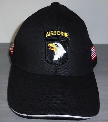 Casquette noire AIRBORNE 101st SCREAMING EAGLES JEEP CAP US VO MILITARIA US PARA