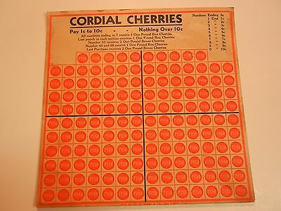 "Vintage 1935 ""cordial Cherries"" Chance 150 Slot Punch Card--W.h. Brady Co."