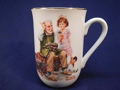 Vintage Norman Rockwell Museum The Cobbler Coffee Mug Cup Very Nice!